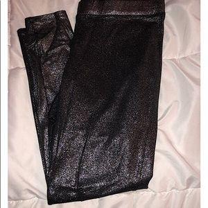 EXPRESS black glitter leggings size L.